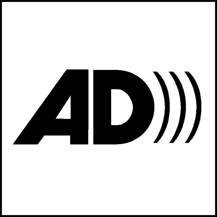 Audio Description Logo with the Letters A & D with 3 right parenthesis